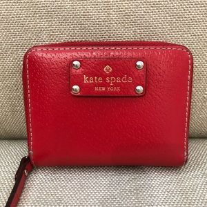 Super cute small red leather Kate Spade wallet